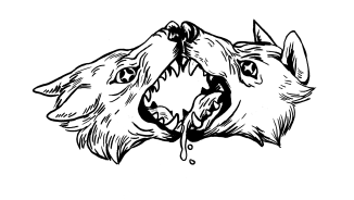 Black and white illustration of two stylized wolves with open mouths touching noses and tongues